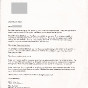 Letter about launch of digital text